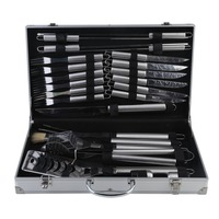 24 PCS Stainless Steel BBQ Utensil Set With Portable Aluminum Box Barbecue Cooking Kit Outdoor Barbecue