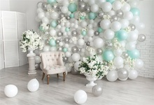 Laeacco Armchair Balloons Flowers Baby Birthday Party Interior Scene Photography Backgrounds Photographic Photo Backdrops Studio