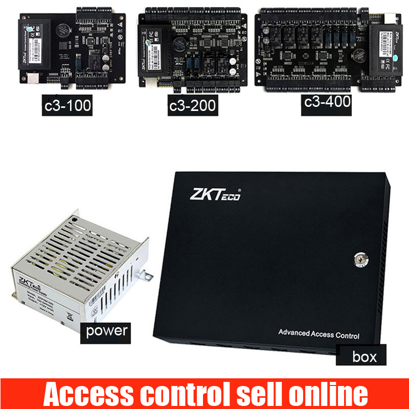 Painel de controle de acesso porta sistema de controle de acesso c3-100 TCP com placa de fonte de alimentação e caixa De Metal proteger c3-200 c3-400 12V3A