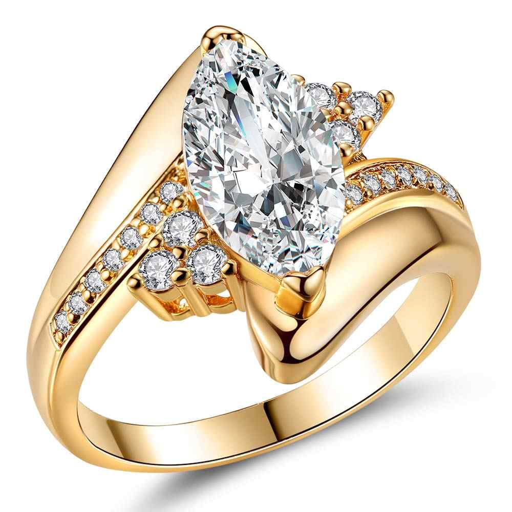 2017 Hot sale New Design Luxury Big Oval CZ Ring Golden Color Wedding ring  Fine Jewelry for Women Free Shipping Jewelry