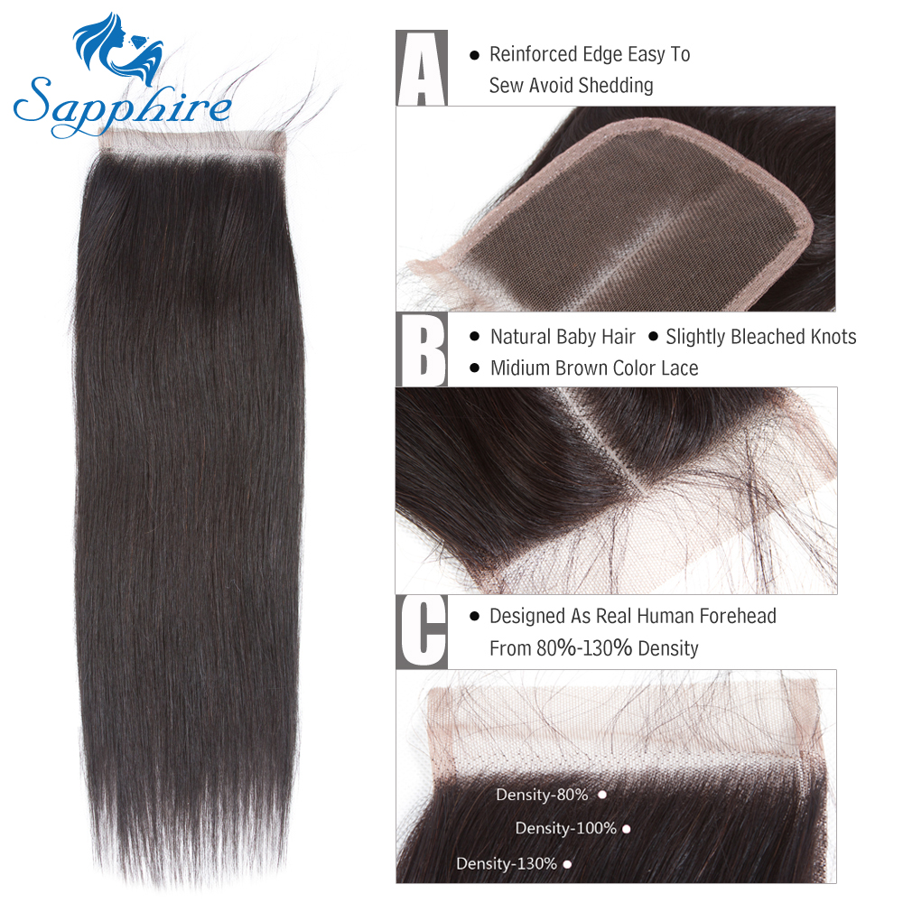 Sapphire Straight Remy Hair 15PCS One Pack Lace Closure With Baby Hair Natural Color For Hair Salon High Ratio Hair Longest Hair ...