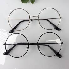 0b276aefb7 2019 nuevo hombre mujer Retro grande gafas redondas de Metal transparente  gafas marco negro plata oro gafas de 3 colores