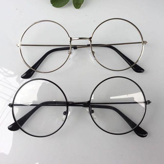 Người Phụ Nữ Retro Tròn Lớn Kính Trong Suốt Kim Loại Mắt kính nữ gọng Đen Bạc Vàng kính đeo mắt Kính Mắt 3 Màu 2019 Mới