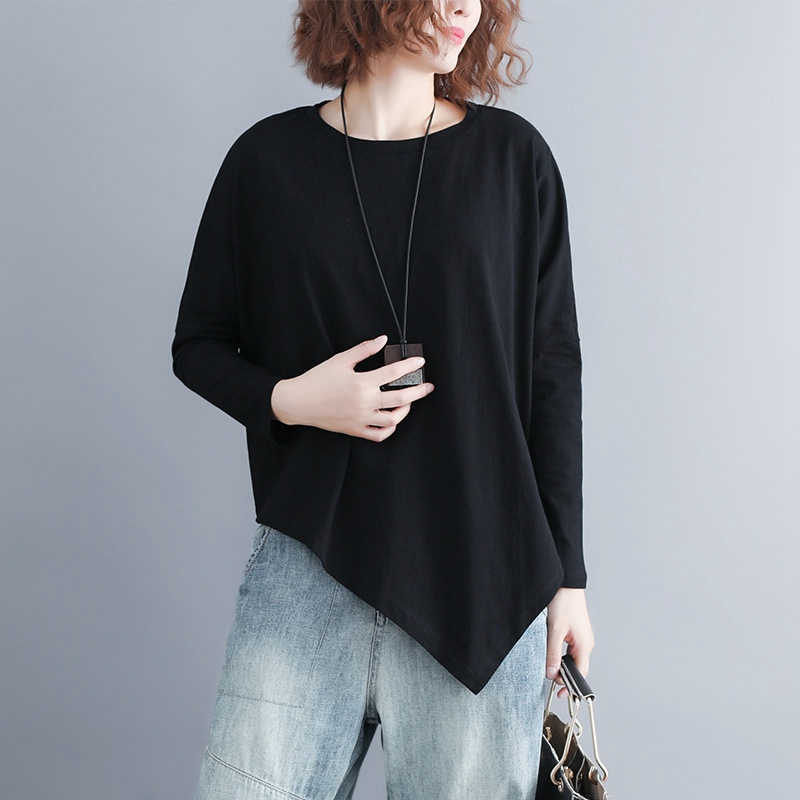 Batwing Sleeve T-shirt Women Casual Plus Size Asymmetrical Tops Long Sleeve Oversize Tees Black MMHH737 8