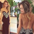 Robe de soirée arabe 2016 Noble de Invierno Vestidos de Noche Opacidad Volver Cuentas vestido de Fiesta Vestido de Novia Negro Mujeres Vestidos Formales