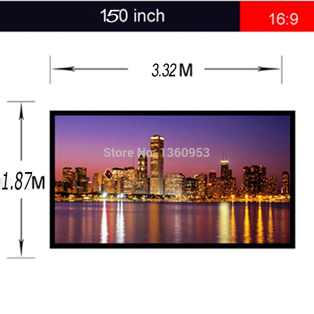 ThundeaL 16:9 150 inch Projector Screen Grommets Finished Edge White Curtain Simple Screen Portable DLP HD Projection Screen