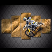 5 Pcs/Set Framed HD Printed Motocross Car Sports Picture Wall Art Canvas Room Decor Poster Canvas Abstract Oil Painting