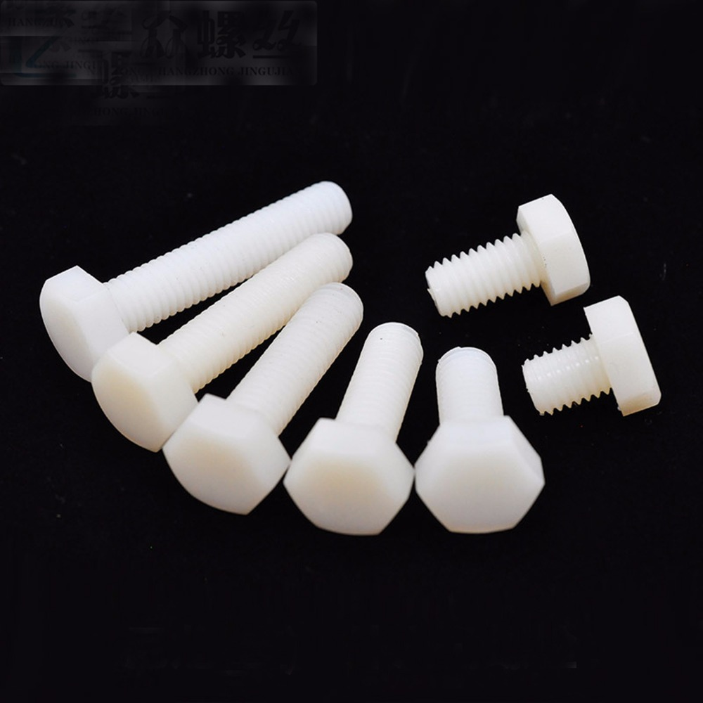 nylon machine screws bolt fasteners plastic hexagon long white M3 hex head cap 5mm to 25mm in Screws from Home Improvement