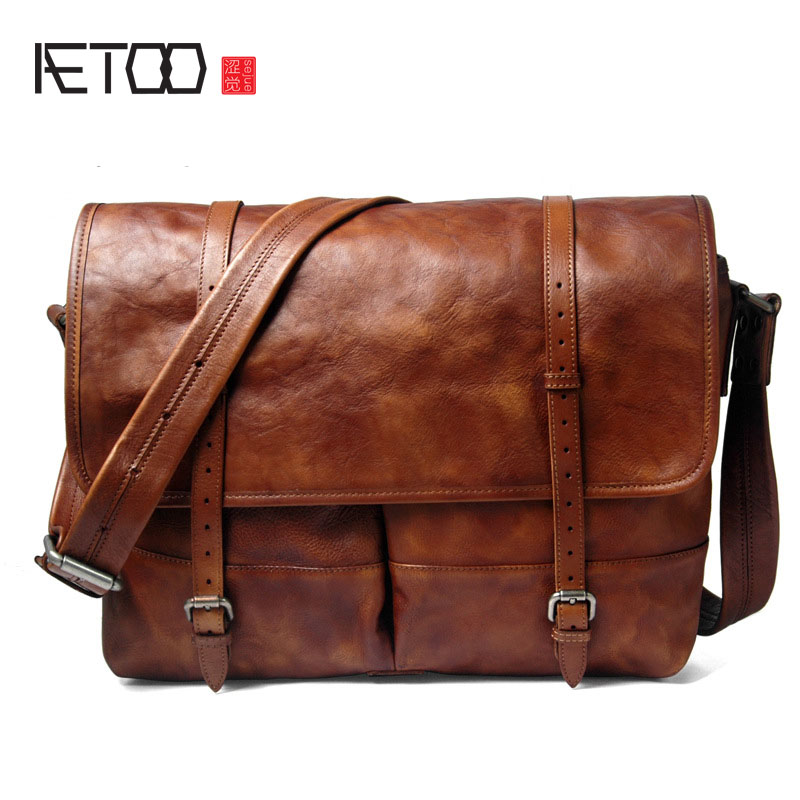 AETOO 2017 new real leather male bag retro first layer of leather shoulder bag rub color casual handbags men aetoo new first layer of leather men s shoulder bag leather male package cross section oblique cross bag japanese and korean ver