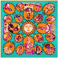 Nueva Llegada 100% Bufanda Cuadrada Bufanda de Seda Twill Jefe Indio Étnico de La Vendimia Para Mujer de La Vendimia Patrón de La Cara Sonriente Pañuelo Envuelve