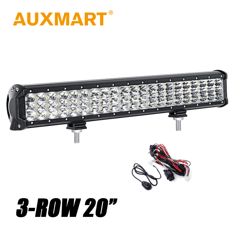 Auxmart CREE Chips 20 inch 252W LED Light Bar 6D 3 Row Offroad Driving Tractor Boat 4WD 4x4 Truck SUV ATV RZR Combo Beam 12V 24v