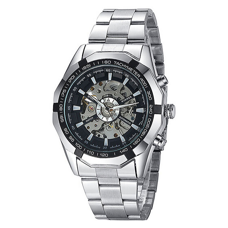 dea58126b4a Original Brand Winner Stainless Steel Automatic Mechanical Watch Men  Skeleton Wrist Watch Relogio Masculino-in Mechanical Watches from Watches  on ...