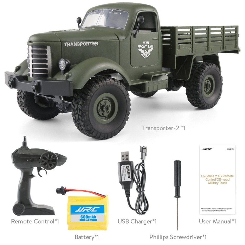 JJRC Q61 1:16 RC Crawer Car 2.4G Remote Control 4 Wheel Drive Tracked Off-Road Military RC Truck Model Electric Toy for Children
