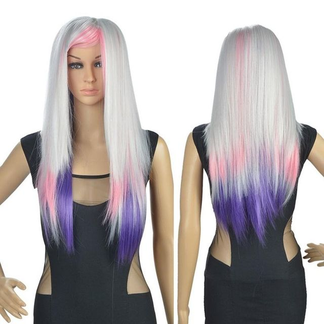 Hot Heat Resistant Party Hair 80 Cm Long Silver Purple Ombre Wig