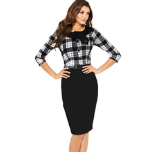 Oxiuly Womens Elegant font b Tartan b font Check Plaid Belted 3 4 Sleeve Casual Work