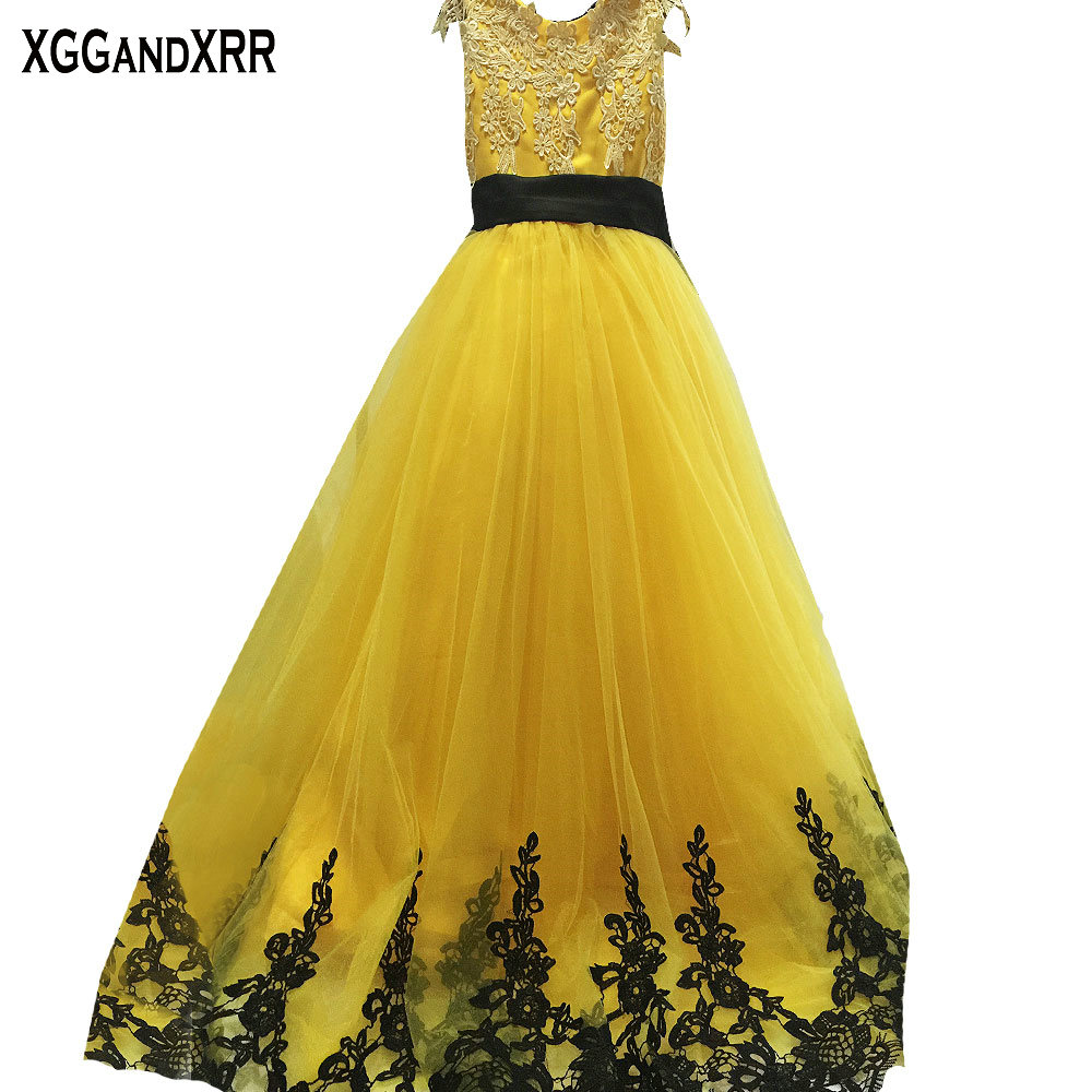 Hot Sale Yellow Tulle A Line Flower Girl Dresses 2018 Scoop