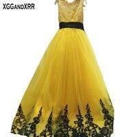 Hot Sale Yellow Tulle A Line Flower Girl Dresses 2017 Scoop Appliques Zipper Back Floor Length