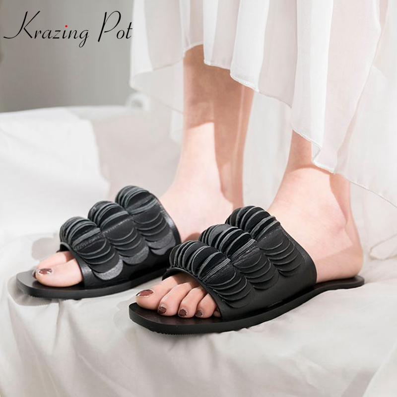 Krazing Pot brand genuine leather peep toe slides low heels summer slipper solid color scale art design lazy vacation mules l52
