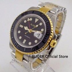 Szafirowy kryształ BLIGER 40 MM Black Dial zegarek ceramiczny Bezel funkcja GMT pozłacane Wacase mechanizm automatyczny zegarek męski Zegarki mechaniczne    -