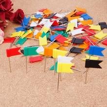 100 шт Смешанные цвета флаг нажимные Шпильки для ногтей большой палец Тэкс карта чертежная булавка канцелярские принадлежности