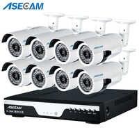 8CH 1080 P POE NVR kit 2MP 3000TVL Macchina Fotografica del IP di PoE P2P Nube CCTV Sistema di IR Outdoor di Sorveglianza di Visione notturna rilevamento del movimento