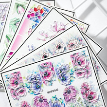 Nail Stickers 3D  Embossed Flower Water Sticker Exquisite Design Decal For Manicure Nails Art Decoration цена