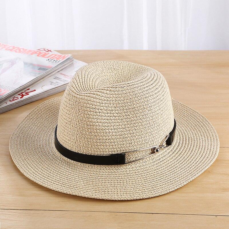 oZyc Summer sea sun hat men casual vacation Panama straw hat women wide brim Beach jazz hats Foldable Chapeau