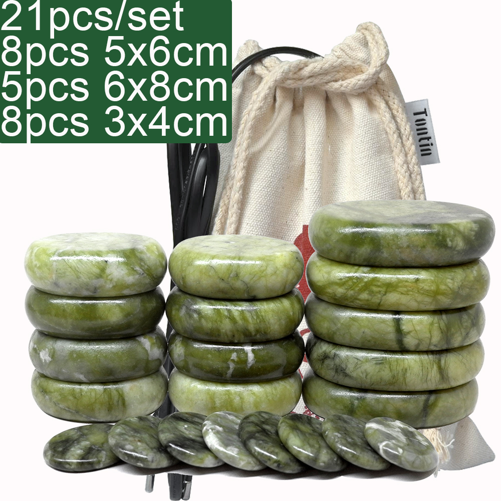 Green Jade Body Massage Hot Stone set SPA Canvas heater Bag Relieve Pain Spa Relax Body