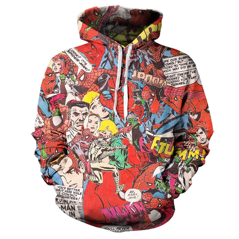 Real American size Spiderman 3D Sublimation Print OEM Hoody/Hoodie Custom made Clothing plus size