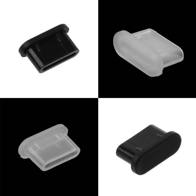 5 uds tipo C polvo enchufe de carga USB protector para Puerto cubierta de silicona para Samsung teléfono inteligente Huawei Accesorios