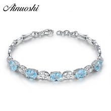 AINUOSHI Natural Oval Sky Blue Topaz Gemstone Bracelet 925 Sterling Silver Girls Birthday Party Romantic Wedding Bangles Jewelry rosalie natural loose gemstone brazil real sky blue topaz oval 6 8mm 3 pc 4 5ct in one lot gemstone for silver jewelry mounting