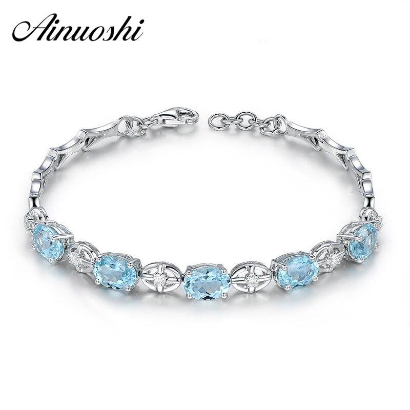 AINUOSHI Naturel Ovale Ciel Bleu Topaze bracelet de pierres précieuses 925 Sterling Argent Filles Fête D'anniversaire Romantique Bracelets De Mariage De Bijoux