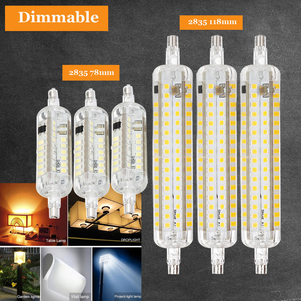 R7s Led Dimmable Led R7s Light Bulb 10w 15w 78mm 118mm Silicone R7s Led Lamp Smd2835 Lampada Led Replace Halogen Floodlight 220v