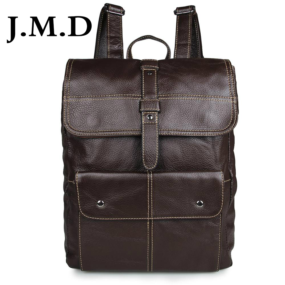 J.M.D 2017 New Arrival 100% Classic Leather Travel Bags Cowboy Genuine Leather Men's Trendy Backpacks Shoulder Bag 7335