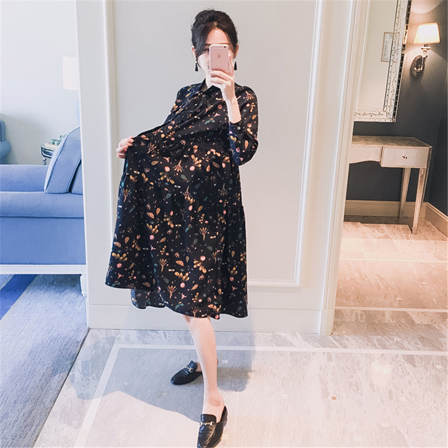 Hamile Elbisesi Print Fashion Vestidos Premama New Spring Maternity Clothes Dresses For Pregnant Women Outwear Dress 70R0175 woman fashion slim solid knee distrressed maternity wear jeans premama pregnancy prop belly adjustable pants for women c73
