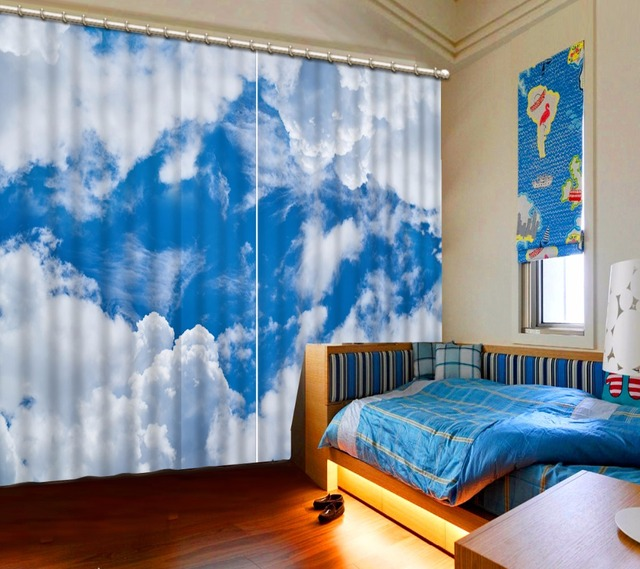 Blue Sky White Clouds Curtains 3D Thermal Blackout Curtains Window Kids  Room Curtain Hooks Polyester/Cotton Drapes