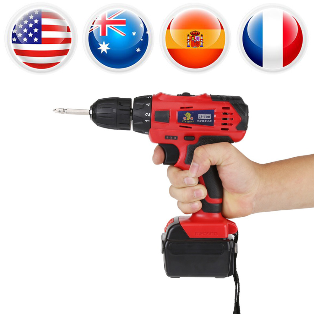 Cordless Electric Drill AC 220V High Power Rechargeable Drill Electric Screwdriver 21V Li ion Battery Drill