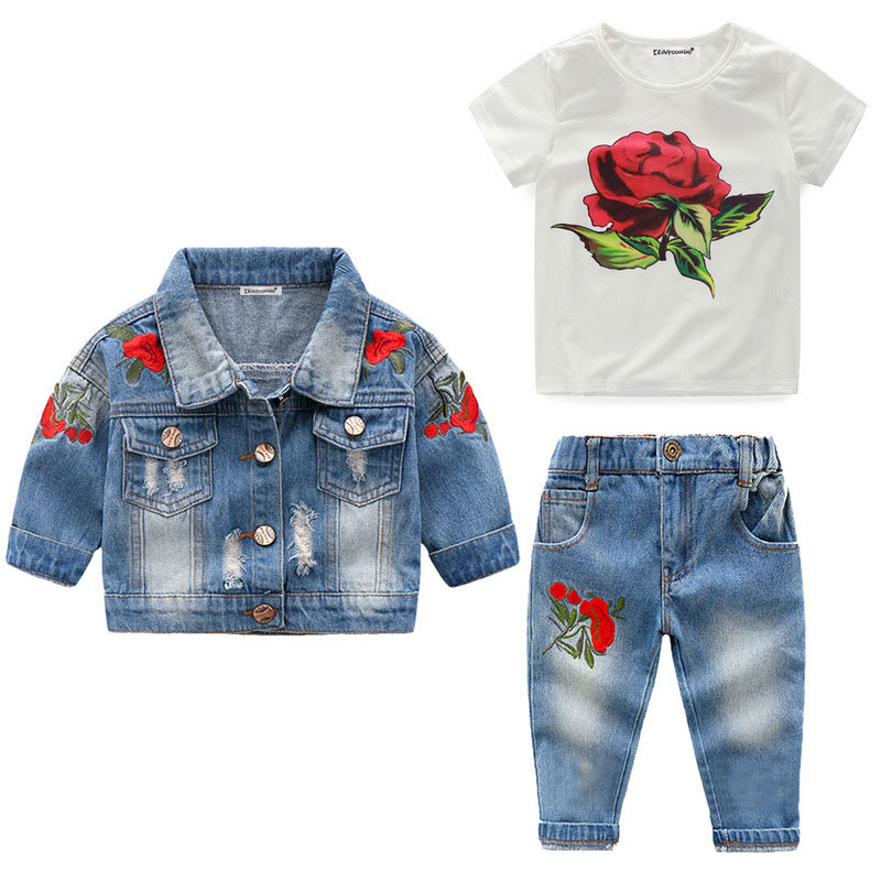 >Children Clothing 2019 Summer Toddler Girl Clothes Coat+<font><b>T</b></font>-<font><b>shirt</b></font>+<font><b>Jeans</b></font> 3pcs <font><b>Outfit</b></font> Kids Clothes Tracksuit For Girls Clothing Sets