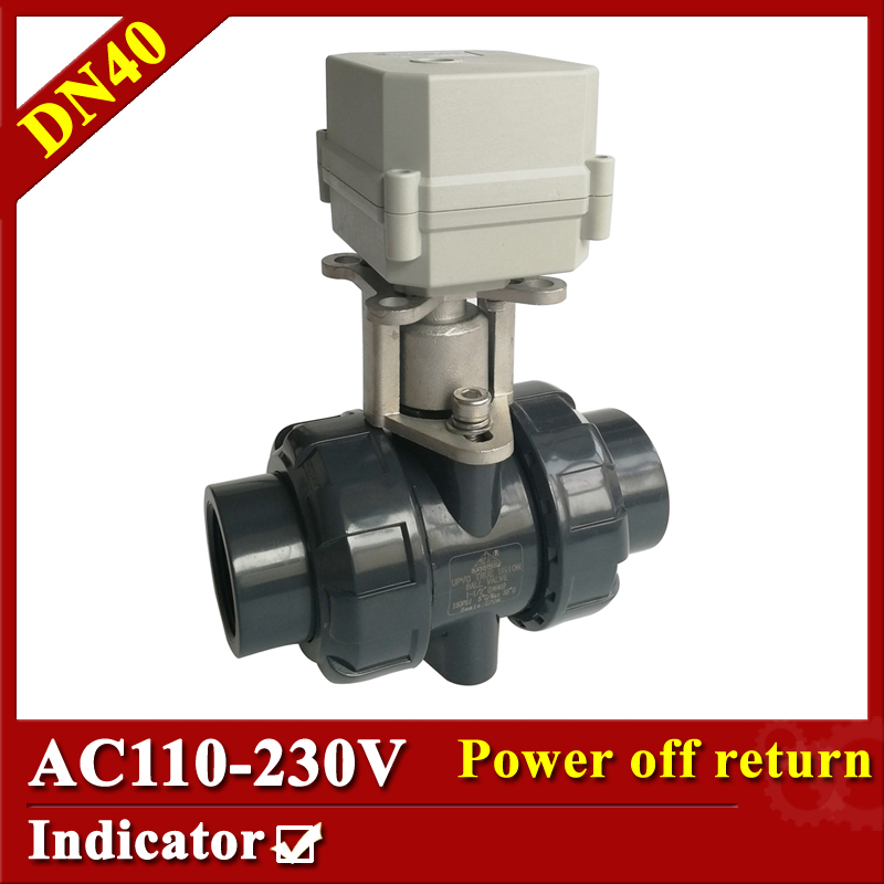 Tsai Fan actuated valve 1 1/2 AC110-230V 2/5 wires electric ball valve DN40 plastic valve power off return for chemical process 1 4 dc12v electric motor valve 2way dn8 motorized valve 5 wires cr501 with indicator and manual override