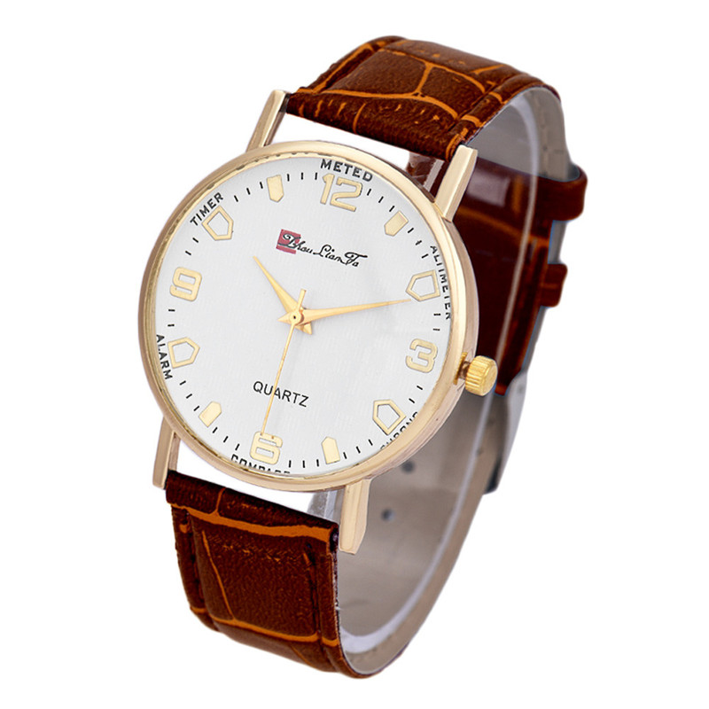 Hot! Women Men Round Golden Case White Dial Faux Leather Band Wrist Watch Time With White/Black/Blue/Brown Color wholesale