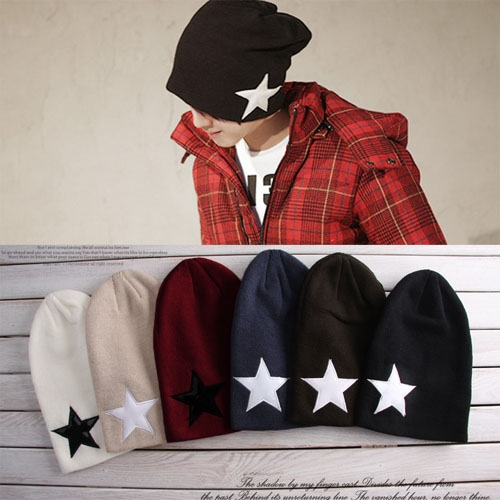 6 Colors New Autumn Winter Unisex Hats Five-pointed Star Wool Knit Hip-Hop Hat Cap Beanies For Men Women Lovers Free Shipping hip hop beanie hat baggy unisex cap thick warm knitted hats for women men bonnet homme femme winter cap plus velvet beanies