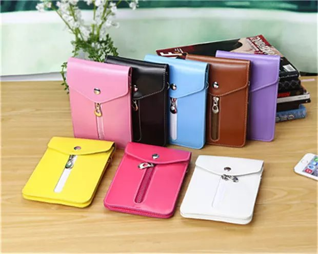6.5inch Universal Phone Pouch Casual Leather Strap Cross-body Shoulder Bag Clutch Purse Wallet Case For Iphone XSMax Galaxy S9