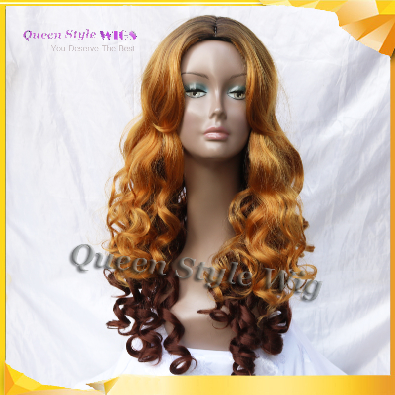 Newest Hairstyle Wig Synthetic Dark Roots Ombre Golden Yellow Then