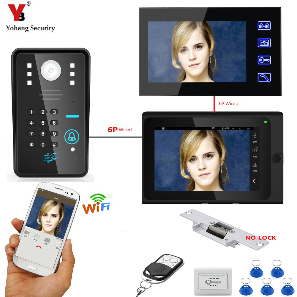 YobangSecurity Video Intercom 2X 7 Inch Monitor Wifi Wireless Video Door Phone Doorbell KIT RFID Password+Door Lock+Power Supply подвесная люстра eglo silvares 95523