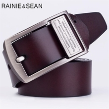 RAINIE SEAN Brown Man Belt Leather Casual Genuine Belts For Men Letter Vintage Fashion Brand Waist With Buckle Male