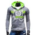 5 colores nuevo diseño mens hoody sweateshirts brand clothing completo manga larga hombres chaqueta de abrigo de primavera otoño de los hombres de la cremallera slim fit