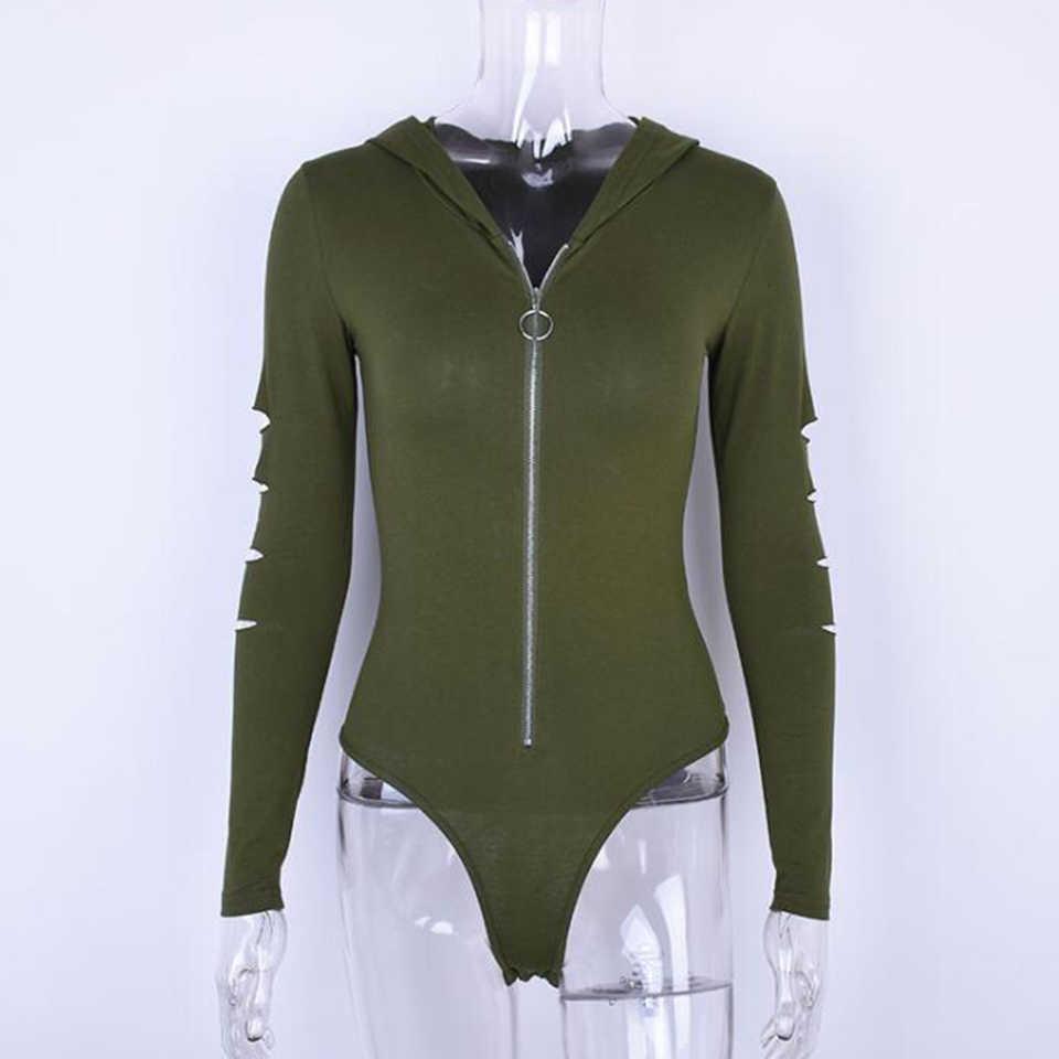 Облегающий Костюм Стретч домашний халат Сексуальная армейская зеленая комбинация-стринги женская мода 2019 длинный рукав боди с капюшоном на молнии комбинезон на молнии