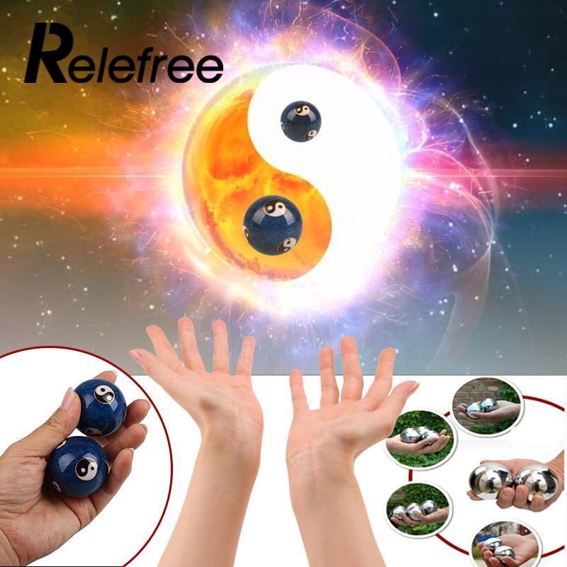 1Pair Health Hand Ball Massage Exersice Metal Meditation Stress Relief Fitness ball Massage Handball 16mm Health Care Product