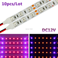 10pcs/lot 0.5m 5W DC12V SMD5050 25Red/5Blue Soft LED Grow Light Bars For Flowering Plant And Hydroponics System LED Strip