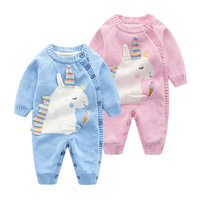 official store Spring winter jumpsuit unicorn baby costume thicken knitted baby rompers with Wool newborn infant clothing
